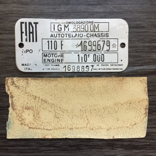 Chassis I.D. Plate and Original Beige Fabric Sample